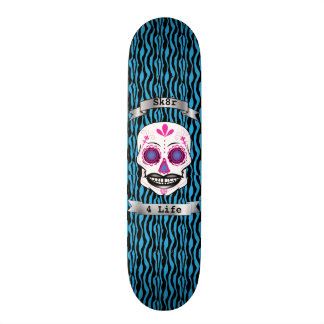 Custom Text Blue Zebra Pink Candy Skull Deck 20.6 Cm Skateboard Deck