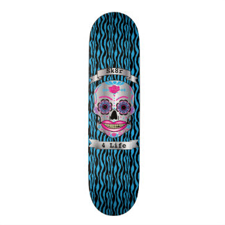Custom Text Blue Zebra Rose Candy Skull Deck 21.6 Cm Skateboard Deck
