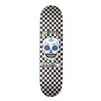 Custom Text Checkered Blue Candy Skull Deck 20 Cm Skateboard Deck