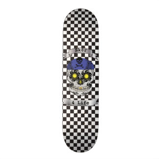 Custom Text Checkered Motorcycle Candy Skull Deck Skate Deck