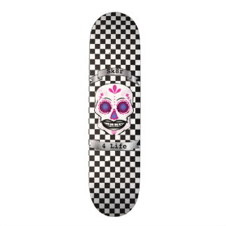 Custom Text Checkered Pink Candy Skull Deck Skate Decks
