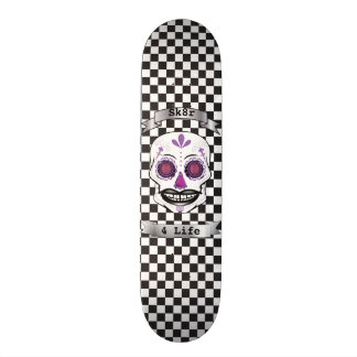 Custom Text Checkered Purple Candy Skull Deck Skate Deck