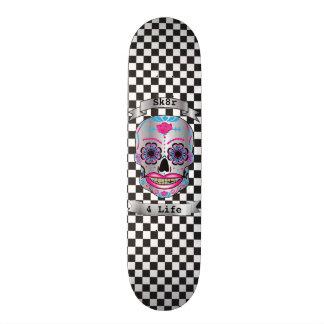 Custom Text Checkered Rose Candy Skull Deck Skateboard