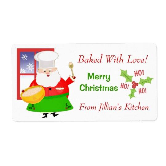 Custom Text Christmas Baking Sticker / Labels
