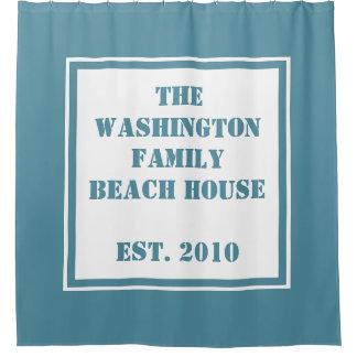 Custom Text & Color Beach House shower curtain