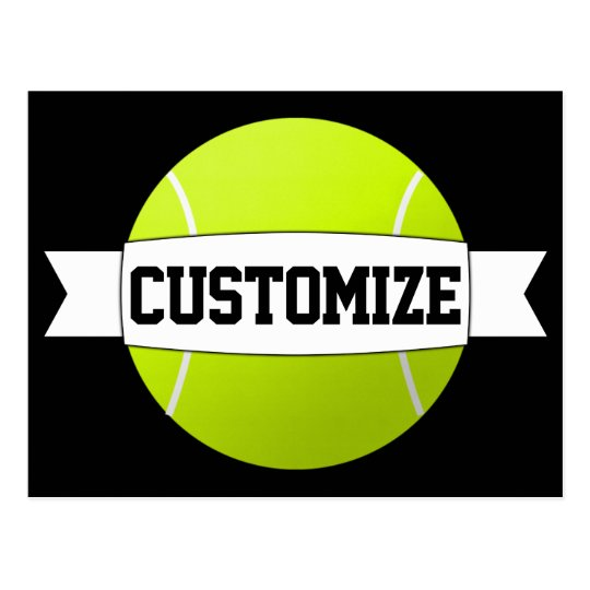 Custom Text & Colour Tennis Ball Postcard