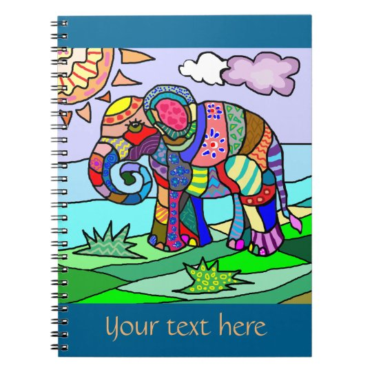 Custom text colourful floclore artistic elephant spiral notebook