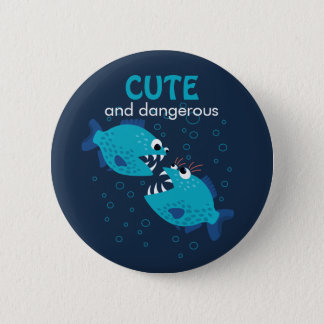 Custom Text Cute And Dangerous Piranha Fish 6 Cm Round Badge