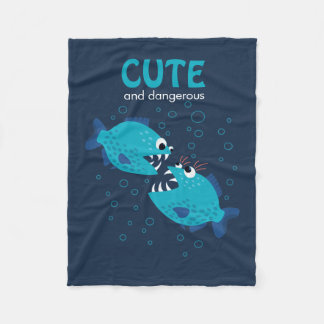 Custom Text Cute And Dangerous Piranha Fish Fleece Blanket
