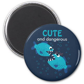 Custom Text Cute And Dangerous Piranha Fish Magnet