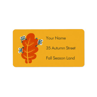 Custom Text Cute Bugs Eat Autumn Leaf Address Label