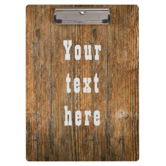 Custom text far west woodgrain clipboard