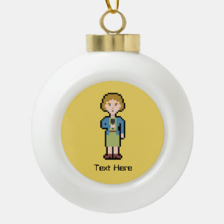 Custom Text Female Reporter Ceramic Ball Christmas Ornament