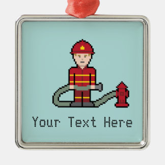 Custom Text Fireman Silver-Colored Square Decoration