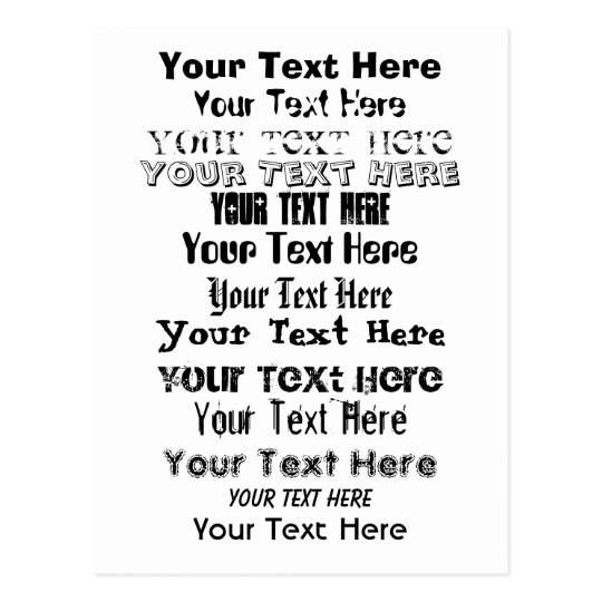 Custom Text. Fonts Postcard no. 1. Your Text Here