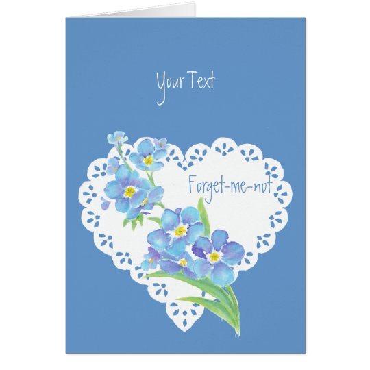 Custom text Forget-me-not flower blue floral Card