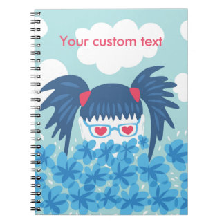 Custom Text Geek Girl With Blue Hair And Flowers Notebooks