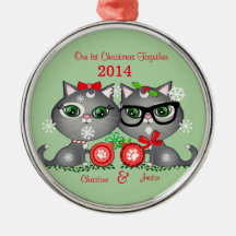 Custom Text Kitty Cat Couple's First Christmas Silver-Colored Round Decoration