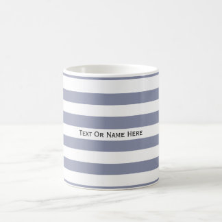 Custom Text Name Cool Grey & White Stripes Basic White Mug