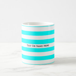 Custom Text Name Cyan Light Blue & White Stripes. Classic White Coffee Mug