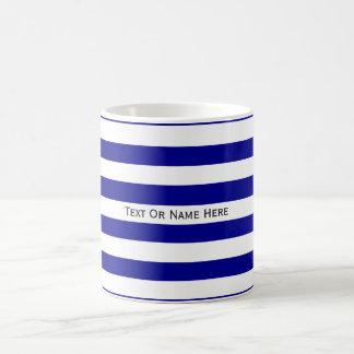 Custom Text Name  Dark Blue & White Stripes Basic White Mug