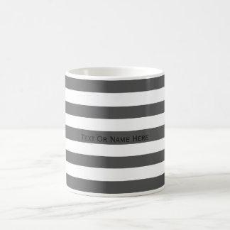 Custom Text Name Davy's Grey & White Stripes. Basic White Mug