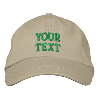 Custom Text, Name, Logo Khaki Adjustable Embroidered Baseball Cap