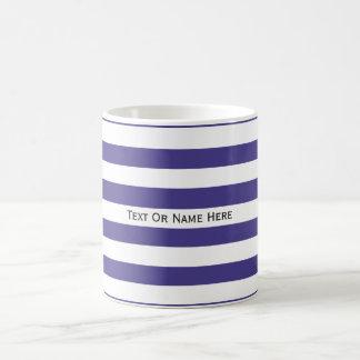 Custom Text Name Slate Blue & White Stripes. Classic White Coffee Mug