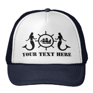 Custom Text Nautic Mermaids Ship Cap