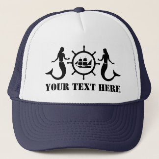Custom Text Nautic Mermaids Ship Trucker Hat