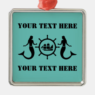 Custom Text Nautical Mermaids Silver-Colored Square Decoration