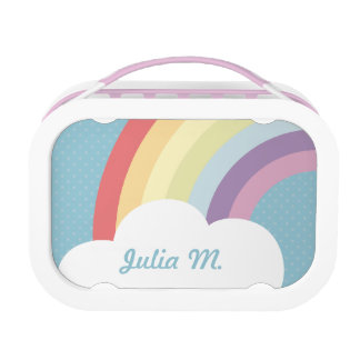 Custom Text on Rainbow (& Cloud!) Blue Lunch Box