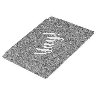 Custom text on silver grey faux glitter iPad cover