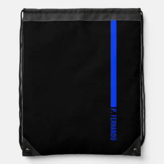 Custom Text on The Thin Blue Line Police Drawstring Bag