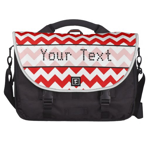 Custom Text or Monogram on Red Chevrons Commuter Bag