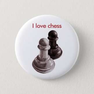 Custom Text Pencil Drawn Pawns Love Chess 6 Cm Round Badge