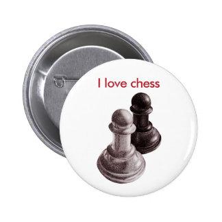 Custom Text Pencil Drawn Pawns Love Chess 6 Cm Round Badge