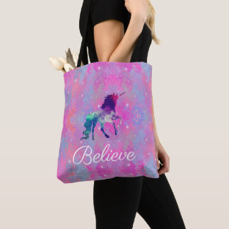 Custom Text Pink/Purple Galaxy Unicorn Tote Bag