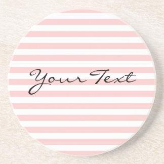 Custom Text Pink Stripe Coasters