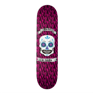 Custom Text Pink Zebra Blue Candy Skull Deck Skateboard Deck