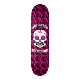 Custom Text Pink Zebra Pink Candy Skull Deck Skateboard
