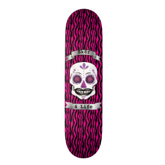 Custom Text Pink Zebra Purple Candy Skull Deck 21.6 Cm Old School Skateboard Deck