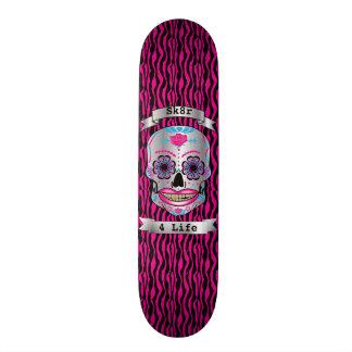 Custom Text Pink Zebra Rose Candy Skull Deck 19.7 Cm Skateboard Deck