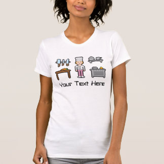 Custom Text Pixel Chef Girl T-Shirt