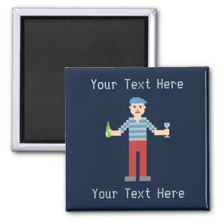 Custom Text Pixel French Square Magnet