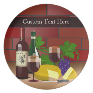 Custom text Plate, Wine Cheese Table Scene Dinner Plates