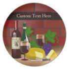 Custom text Plate, Wine Cheese Table Scene Plate