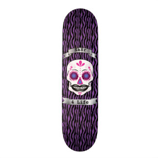 Custom Text Purple Zebra Pink Candy Skull Deck Skate Board Deck