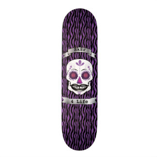 Custom Text Purple Zebra Purple Candy Skull Deck 18.1 Cm Old School Skateboard Deck
