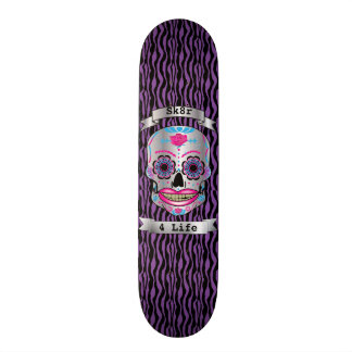 Custom Text Purple Zebra Rose Candy Skull Deck Custom Skateboard
